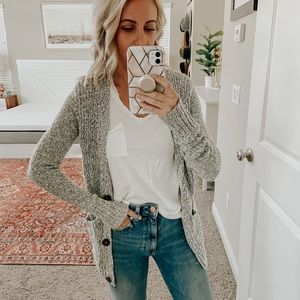 Marbled gray button down cardigan